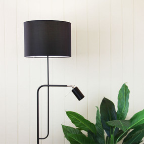 Floor Lamp with Child and Shade Black