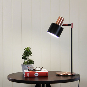 Graceful Desk Lamp Black with Copper Head
