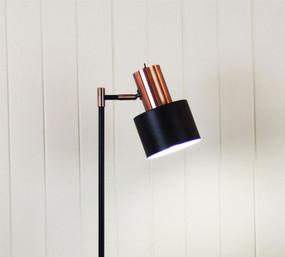 Floor Lamp - Graceful Black with Copper Head