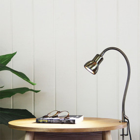 Detailed Clamp Lamp Antique Brass