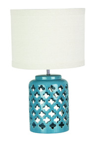 Chic Modern Teal Ceramic Complete Table Lamp