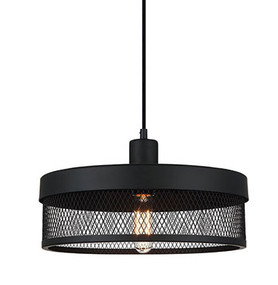 Drum 0.36m Single Mesh Pendant Black
