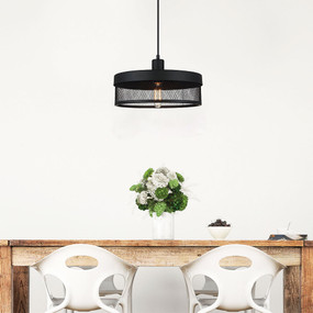 Drum Pendant Light - Mesh 36cm Black
