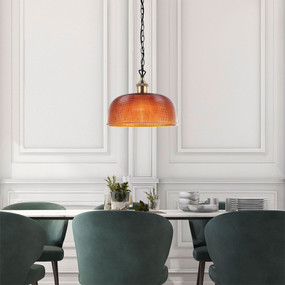 Pendant Light - Amber Glass Industrial Vintage Style 270mm