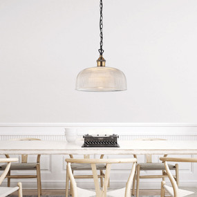 Pendant Light - Clear Glass Industrial Vintage Style 270mm