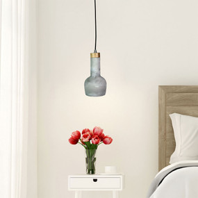 Concrete Pendant Light - Industrial Style With Real Timber