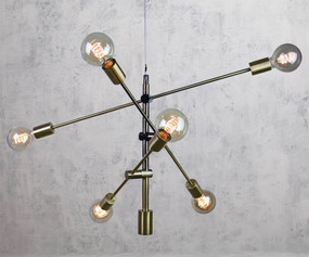 Contemporary 6 Light Pendant Antique Brass