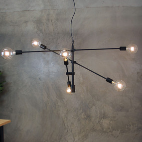 Contemporary 6 Light Pendant Matt Black