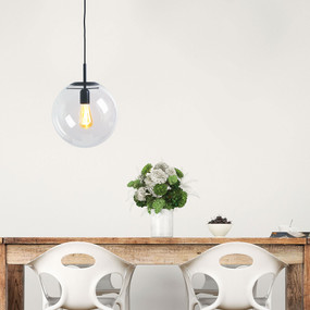 Pendant Light - Contemporary Black With Clear Glass 30cm