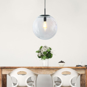 Pendant Light - Contemporary Black With Clear Glass 40cm