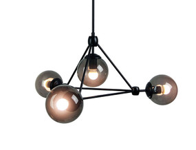 Contemporary 4 Light Pendant Smoke / Matt Black