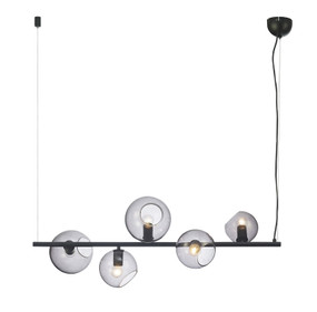 Contemporary 5 Light Pendant Black/Smoked