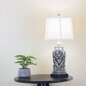 Period Antique Silver Cut Table Complete Lamp