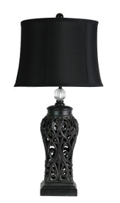 Period Antique Black Cut Table Complete Lamp