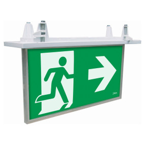 Emergency Exit Sign - LED 5W 24m Viewing Distance Recess Mount 2 Hours Commercial Grade