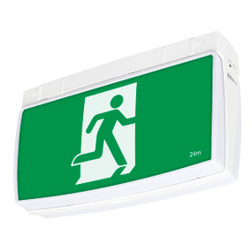 Emergency Exit Sign With Downlight - LED 3W 24m Viewing Distance Surface Mount 2 Hours Commercial Grade