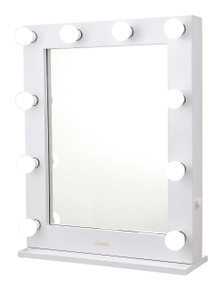 Mirror with Lights - 10 Globes 0.6x0.75m Gloss White