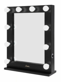 Mirror with Lights - 10 Globes 0.6x0.75m Satin Black