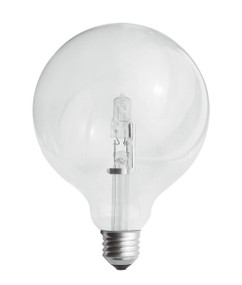 Halogen E27 Spherical G125 53W 75W Clear 2800K 780lm Dimmable Globe