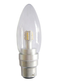 LED B22 Candle 4W 3000K Clear 300D 260lm Globe