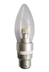 LED B22 Candle Dimmable 4W Clear 3000K 300D 290lm Globe