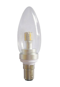 LED B15 Candle 4W 3000K Clear 300D 260lm Globe