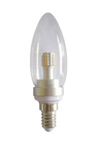 LED E14 Candle 4W 3000K Clear 300D 260lm Globe