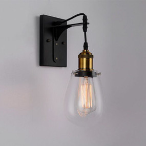 Indoor Wall Light - 40W E27 317mm Steel and Glass