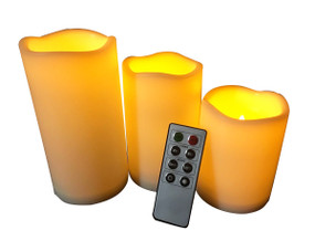 LED Table Light Ambient 3 x Candle Cylinders - Remote Control