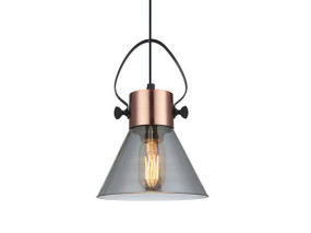 Industrial Smoke Glass Cone Pendant Light