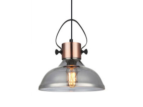 Industrial Smoke Glass Dome Pendant Light