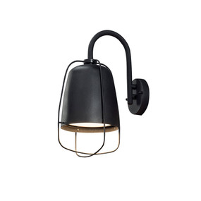 Caged Outdoor Wall Light Black