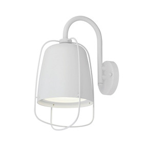 Caged Outdoor Wall Light White
