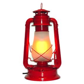 Red Kerosene Style LED Table Lamp