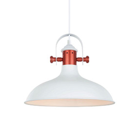 Industrial Pendant Light - White Dome Copper Plated