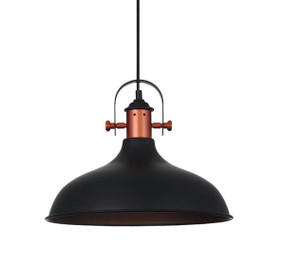 Industrial Pendant Light - Black Dome Copper Plated