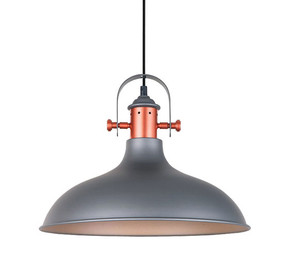 Industrial Pendant Light - Grey with Copper