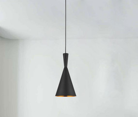 Rustic Black Pendant Light - Variable Suspension, Cone