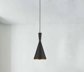 Rustic Black Pendant Light - Variable Suspension, Cone