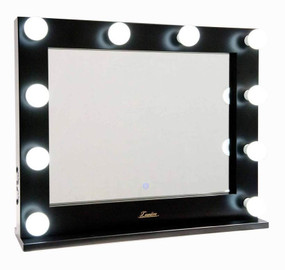 Mirror with Lights - 10 Globes 0.75x0.6m Gloss Black