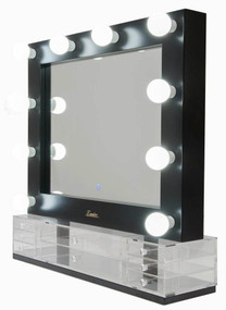 Mirror With Lights and Drawers - 10 Globes 0.75x0.75m Gloss Black