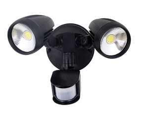 Twin 30W LED Tricolor Spotlight with Sensor - Black