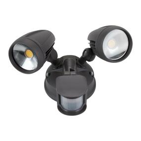 Twin 30W LED Tricolor Spotlight with Sensor - Grey