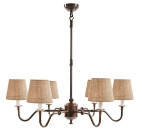 6 x Arm Chandelier Base Copper - PRS