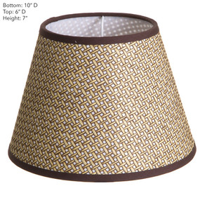 Lamp Shade - Brown Basket Weave with Chocolate Trim 10x6x7