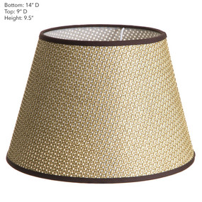 Lamp Shade - Brown Basket Weave with Chocolate Trim 14x9x9.5