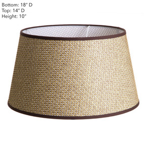 Lamp Shade - Brown Basket Weave with Chocolate Trim 18x14x10