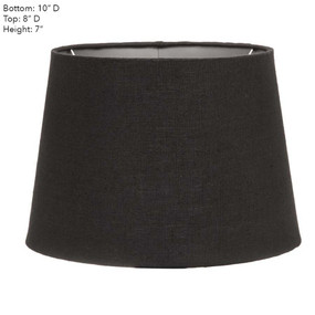 Lamp Shade - 10x8x7 Black Linen With Silver Lining