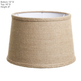 Lamp Shade - 12x10x8 Jute With Cuff