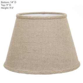 Lamp Shade - 14x9x9.5 Jute With Cuff